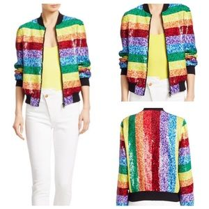 🌈 Alice + Olivia Sequin Rainbow Bomber Jacket 🌈